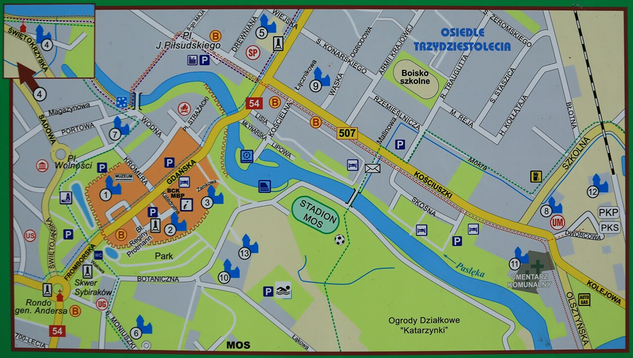 Braniewo Showplaces Map