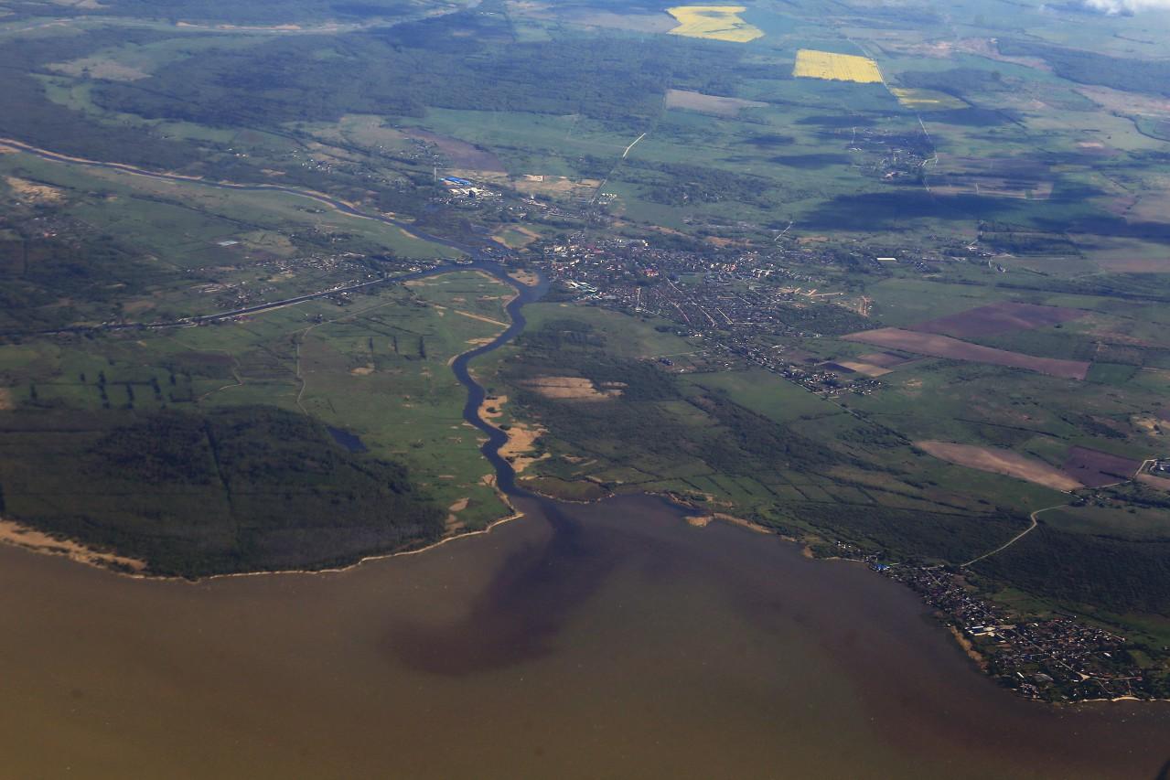 Река Дейма, Калининградская область, вид с самолёта
