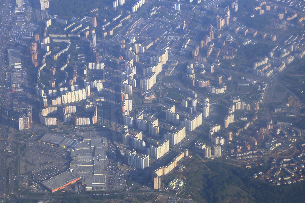 Eastern suburbs of Moscow, aerial view